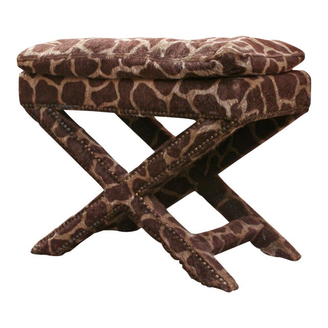 Giraffe Print Upholstered X-Frame Bench after Billy Baldwin For Sale