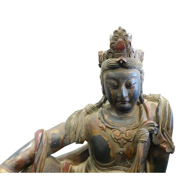 Distressed Golden Black Wood Kwan Yin Statue - Image 4 of 10