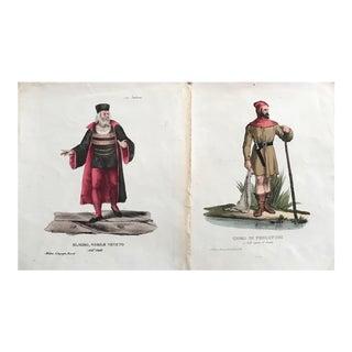 Pair of Vintage Italian Costume Prints, Circa 1700 (Set of 2) For Sale