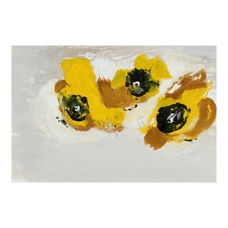 """""""M-C With Yellow"""" Abstract Monotype in Mustard Yellow Brown and Black For Sale"""