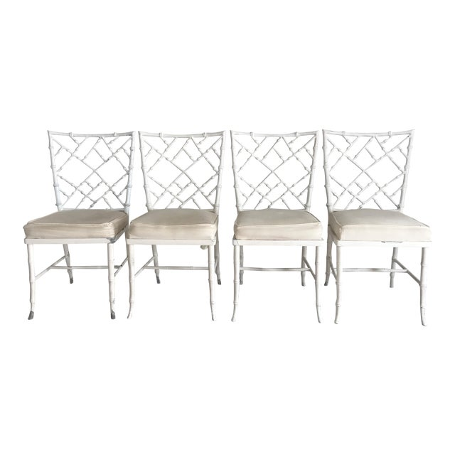 Vintage Phyllis Morris Style Metal Faux Bamboo Chairs - Set of 4 For Sale