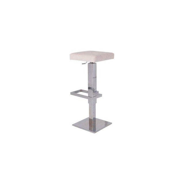 Maison Jansen Maison Jansen Chromed Steel Adjustable Bar Stools With White Velvet Seating For Sale - Image 4 of 8