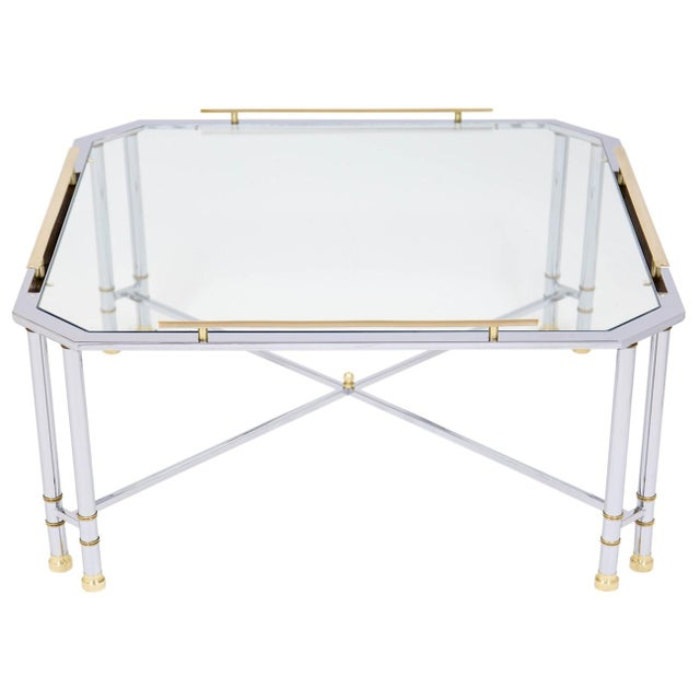 Maison Jansen Chrome Brass & Glass Coffee Table For Sale - Image 4 of 10