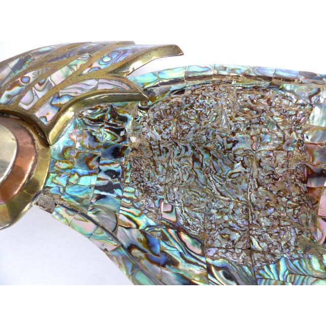 Mid-Century Modern Los Castillo Mexican Mid-Century Modern Mixed Metal and Abalone Parrot Tray For Sale - Image 3 of 13