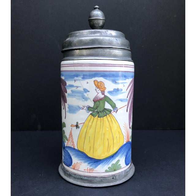 Folk Art 18th Century German Faience Polychrome Pewter-Mounted Tankard in Columnar Form For Sale - Image 3 of 11