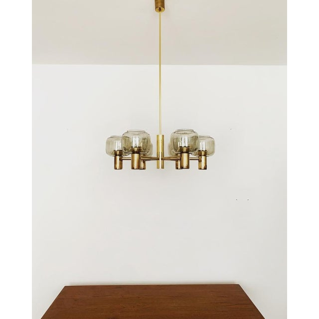 Mid-Century Modern Mid-Century Modern Brass and Smoked Glass Chandelier For Sale - Image 3 of 7
