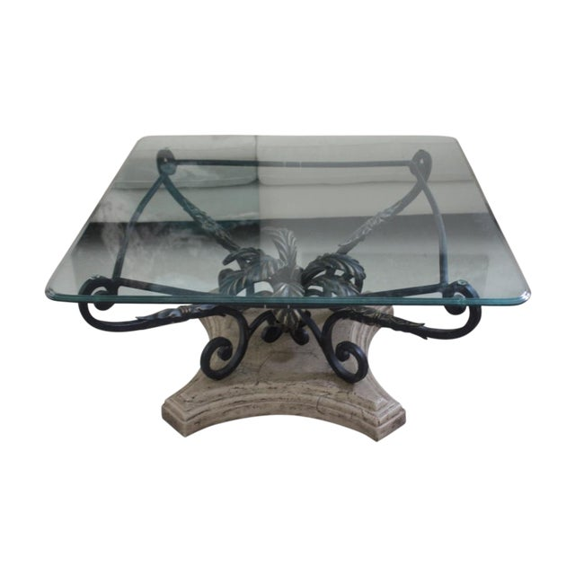 Elegant Beveled Glass Top Coffee Table - Image 1 of 6