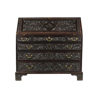19th Century English Carved Slant-Front Desk For Sale