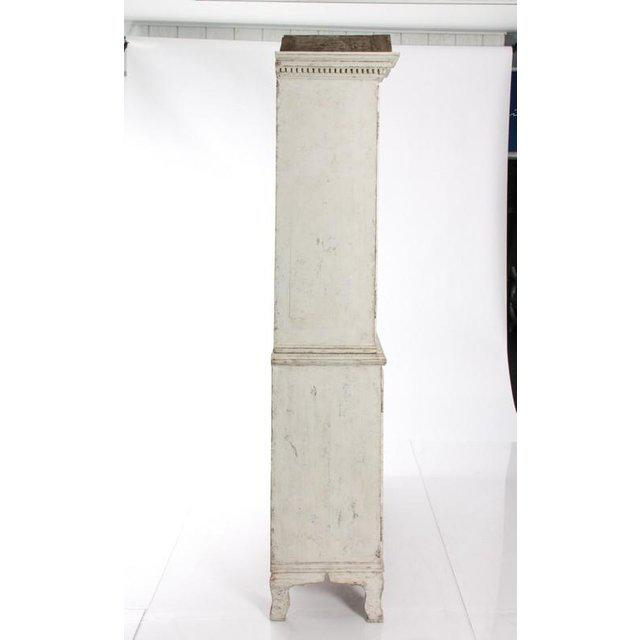 Antique White Gustavian Style Vitrine With Glass Panel Doors For Sale In New York - Image 6 of 11