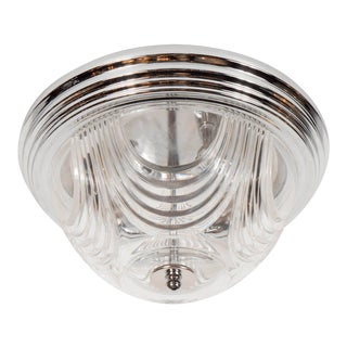 Art Deco Style Flush Mount Chandelier with Chrome Fittings For Sale