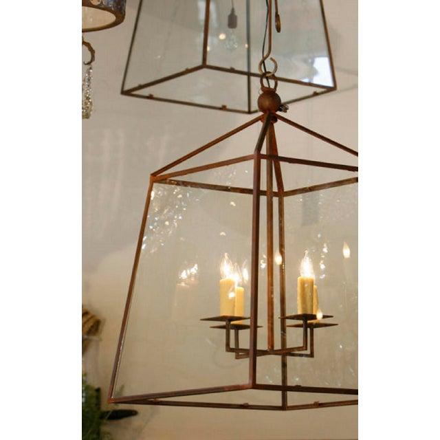 "Modern Large Custom-Made, American Iron and Glass ""Seneca"" Lantern For Sale - Image 3 of 5"