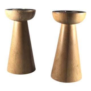 1960s Vintage Wood Candle Holders - A Pair For Sale