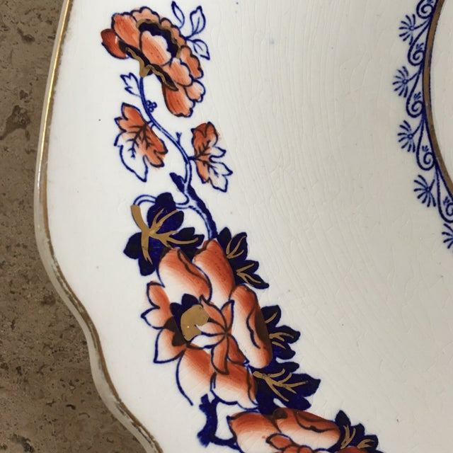 Asian Large Scalloped Vintage Crown Staffordshire Plate For Sale - Image 3 of 9