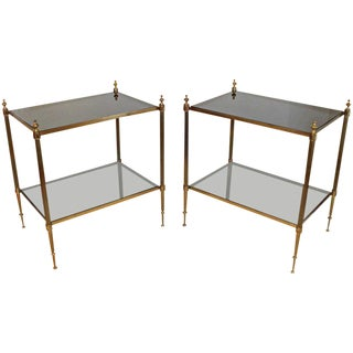 French Two-Tier Brass Side or End Tables - a Pair