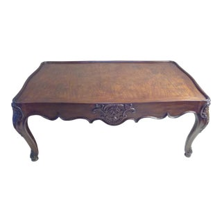 Henredon French Louis XIV Style Walnut Coffee Table For Sale