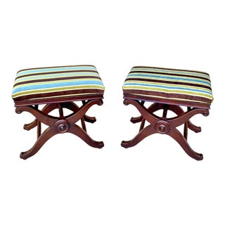 Restoration Hardware Ottomans With Cruel Bases - a Pair For Sale