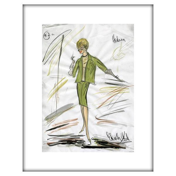 "Reproduction Framed Print of Original Costume Sketch by Edith Head for Tippi Hedren ""The Birds"" (1963) - Image 2 of 4"