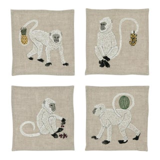 Monkeys With Fruits Cocktail Napkins - Set of 4