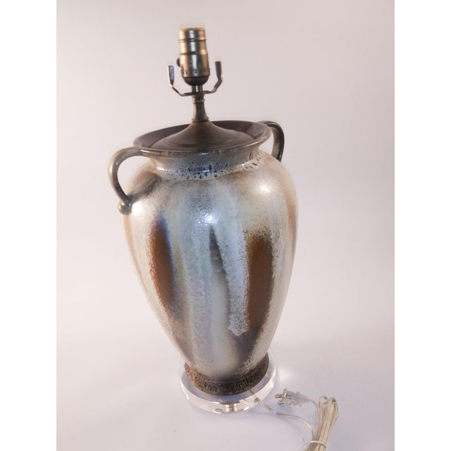 Electrified Mid-Century Lava West German Vase For Sale - Image 4 of 8