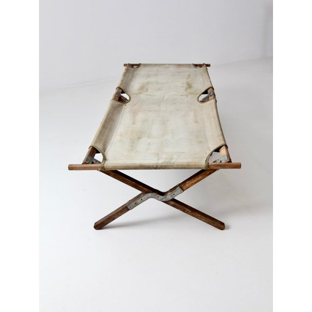 Canvas Vintage 1940s Army Cot For Sale - Image 7 of 12