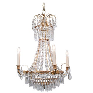 Neoclassic Style Gilt Brass and Crystal Chandelier, Sweden, circa 1935 For Sale
