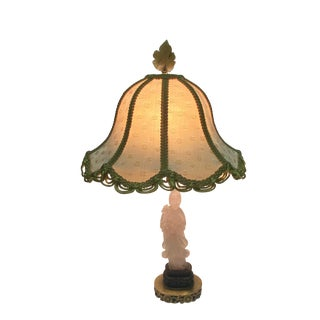 Vintage Carved Chinese Quartz Table Lamp For Sale
