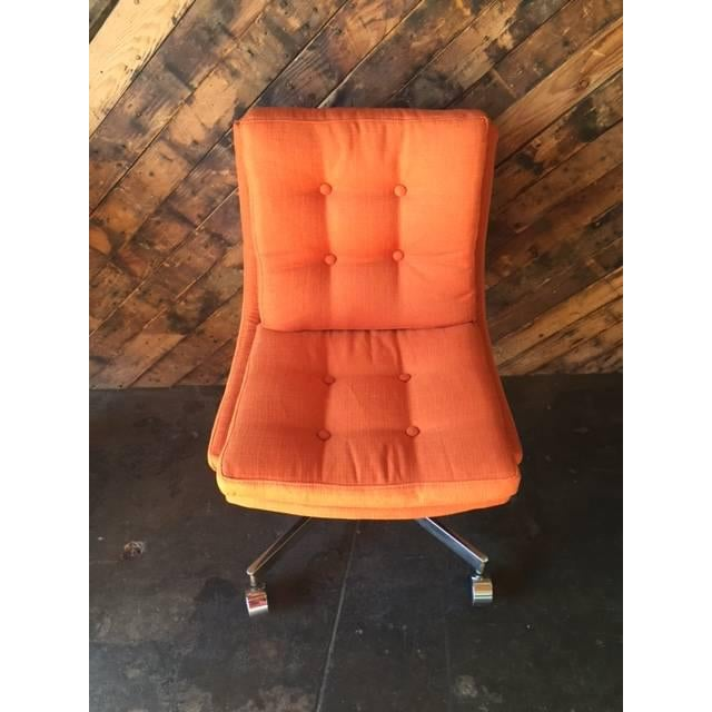Vintage Reupholstered Rolling Office Chair - Image 3 of 6