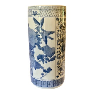 1970s Chinoiserie White and Blue Ceramic Birds Greek Key Umbrella Stand For Sale