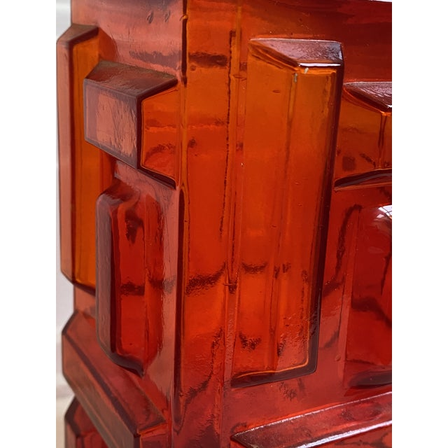 Scarlet cubist geometric glass Mid Century decanter/bottle/vase marked Made in Italy. The color is gorgeous and is a...