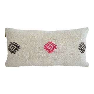 Lumbar Pillow Cover. 100% Natural Hemp Kilim Pillow Sham Turkish Rug Throw - 13ʺ X 26ʺ For Sale