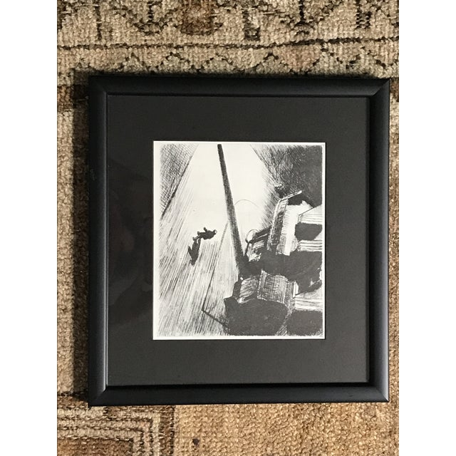 Late 20th Century Man Walking Down Empty Street Etching For Sale - Image 5 of 5