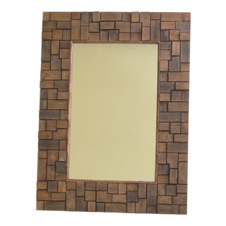 Block Framed Decorative Wall Mirror For Sale
