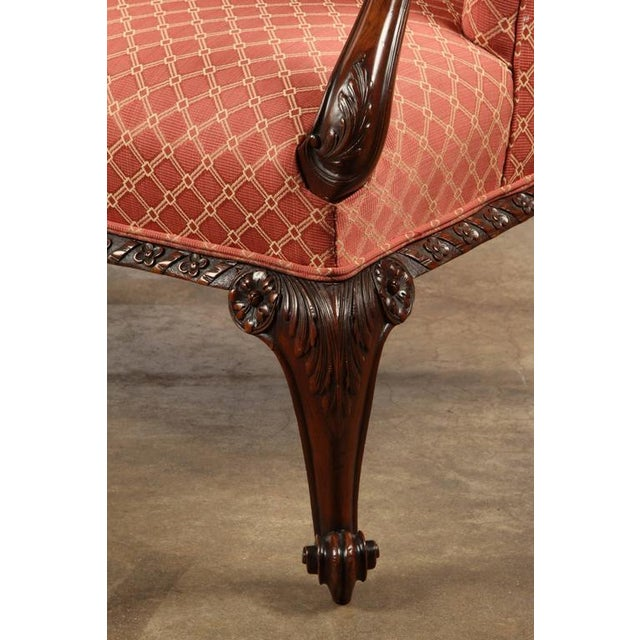 Finely Carved English Victorian Upholstered Settles - Image 5 of 8