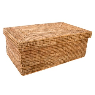 Artifacts Rattan Rectangular Box With Lid For Sale