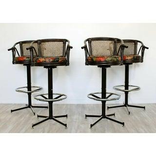 Mid Century Modern Set 4 Cane Rattan Swivel Bar Stools Umanoff Style 1960s Preview