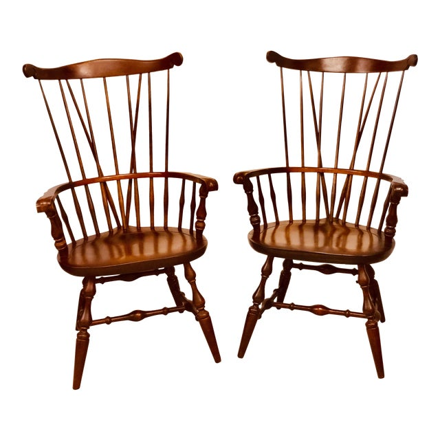 1980s Vintage Nichols & Stone Windsor Chairs- A Pair For Sale