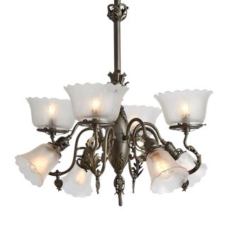 Rococo Gas/electric Chandelier W/ Etched Shades Circa 1900