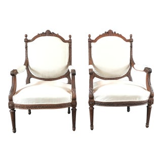 French Carved Walnut Armchairs - a Pair For Sale