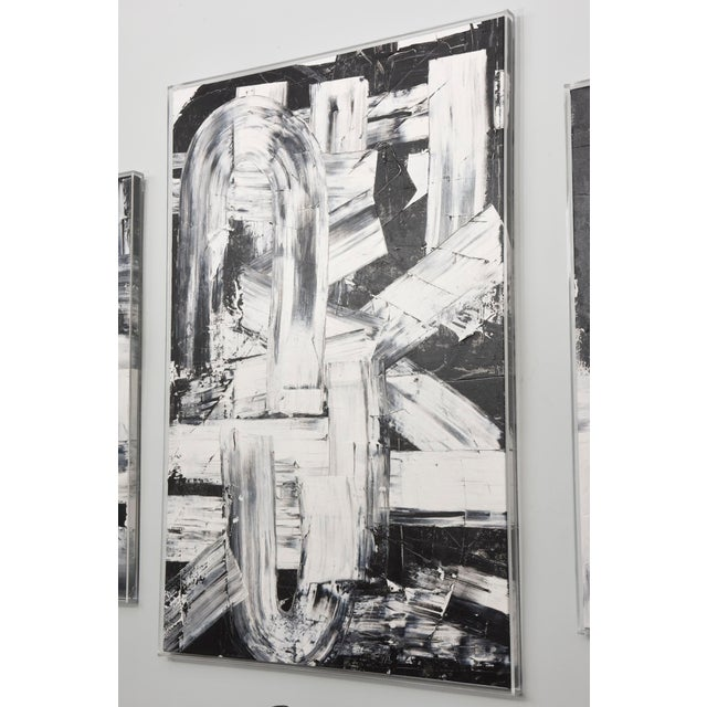 Abstract Renato Freitas Original Oil on Canvas, 2015, Black and White Two For Sale - Image 3 of 6