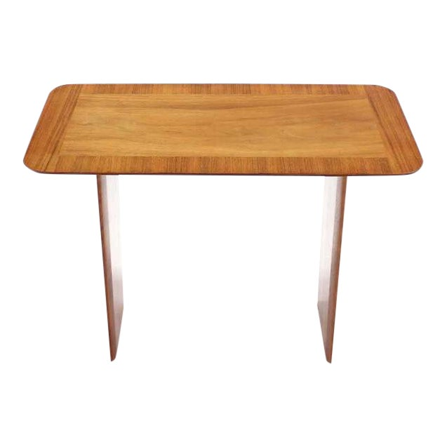 Widdicomb Banded Mid Century Modern Side Table Tapered Walnut Leg For Sale