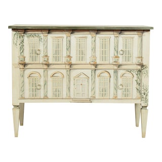 Italian Neo-Classical Style Hand Painted Commode, 2 Drawer Chest