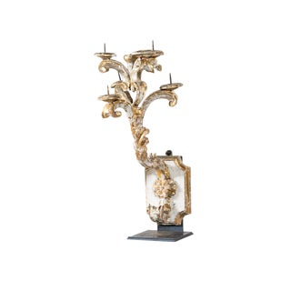 White and Gold Six Candle Antique Baroque Giltwood Sconce For Sale