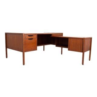 Jens Risom Mid Century L Shaped Walnut Executive Desk For Sale