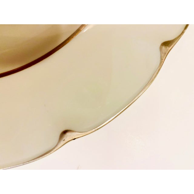 """1960s Theodore Haviland """"Concorde"""" Limoges Celadon and Silver Scalloped Plates - Set of 13 For Sale - Image 5 of 11"""