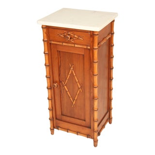 1930s Hollywood Regency Faux Bamboo Marble Top Occasional Cabinet For Sale