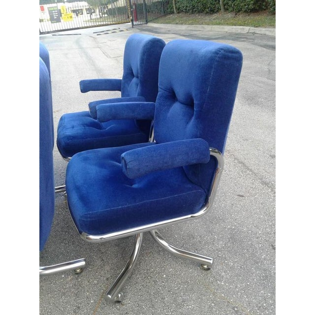 Vintage Hollywood Regency Chrome Swivel Arm Chairs - 3 Available For Sale - Image 10 of 12