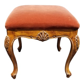 Vintage French Country Orange Velvet Bench W Shell Motif For Sale