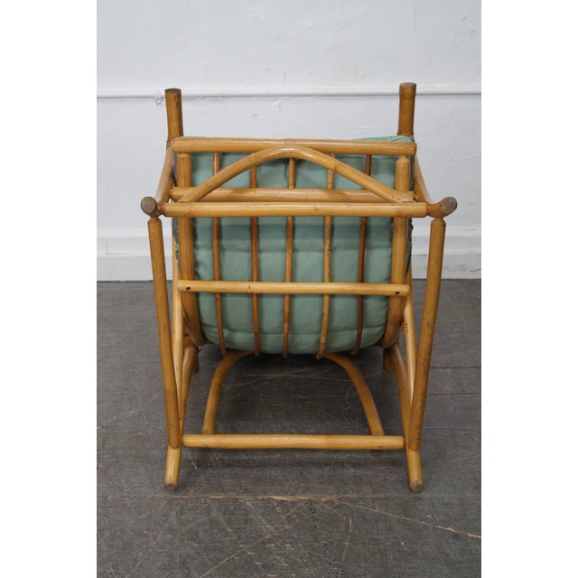 Mid-Century Rattan Frame High Back Lounge Chair - Image 6 of 10