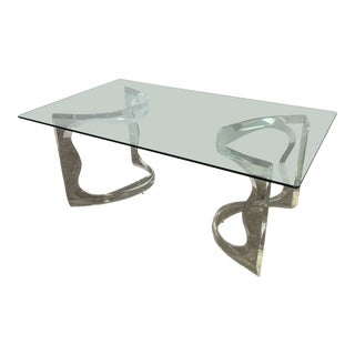 1980s Postmodern Lucite Base Dining Table For Sale