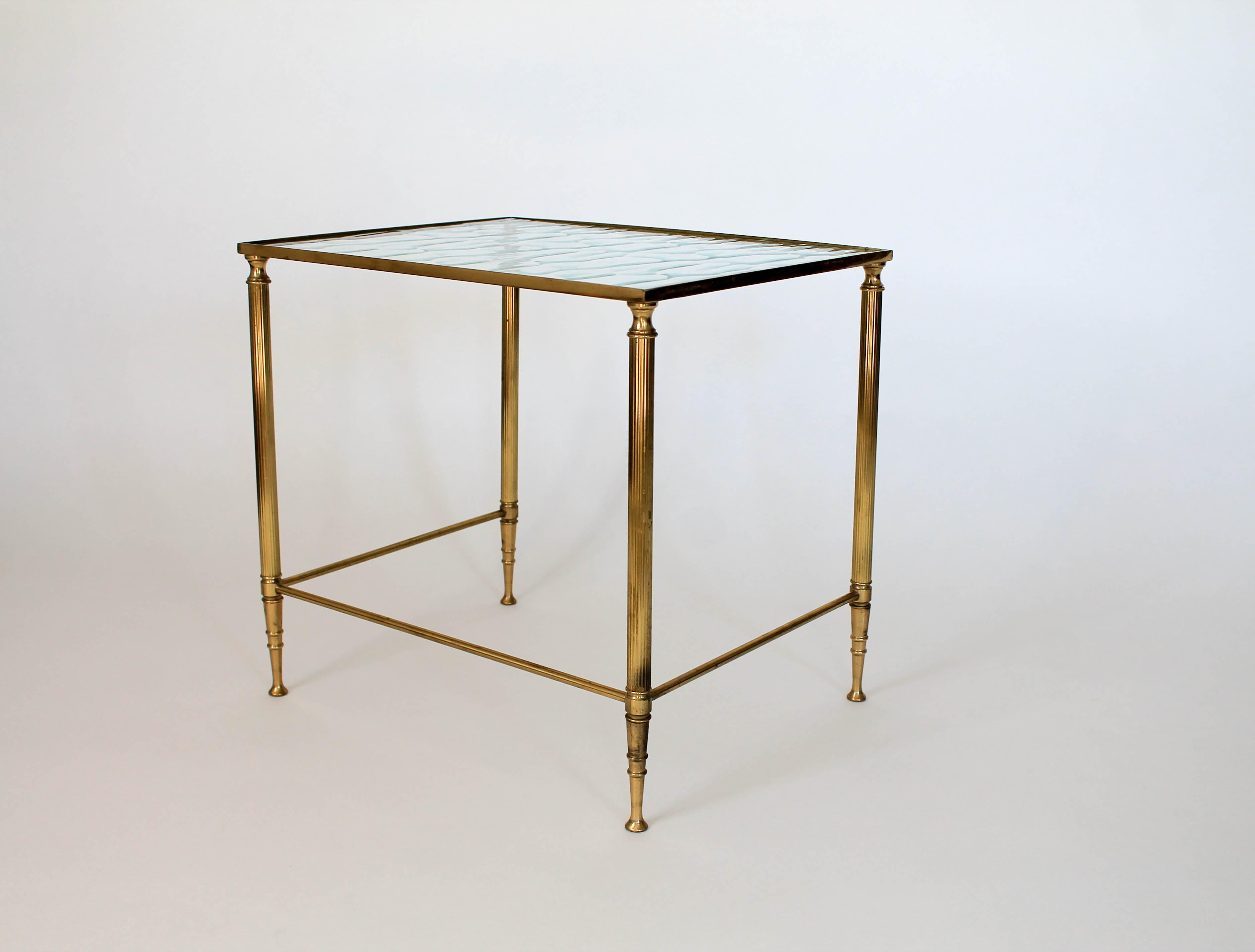 Genial Small Brass And Glass Side Table For Sale   Image 5 Of 8